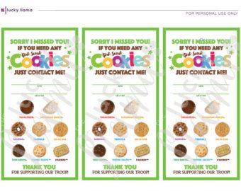 picture regarding Girl Scout Cookies Order Form Printable named Inexperienced Female Scout Cookie Doorway Signs or symptoms (Sorry We Ignored By yourself