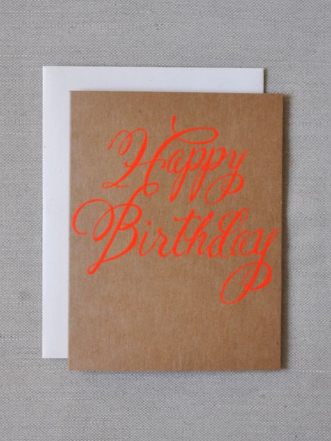 Image of Neon Red Happy Birthday Card