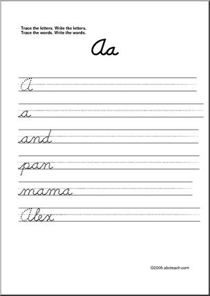 intro to all cursive letters A-Z printable.  I could do 2-3 a day and bust these out the first few weeks of school.