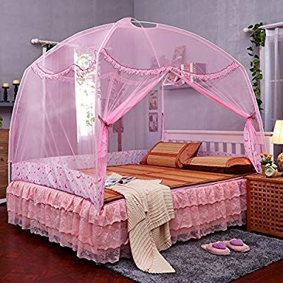 Pink TYMX Butterfly Dome Suspended Ceiling Mosquito Protection Net Bed Canopy Bedroom Room Lace Mosquito Net
