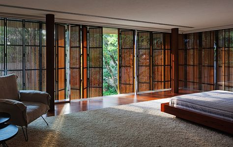 Interior, Toblerone House Decorated with Awesome View in Sao Paulo: Comfortable Bedroom With Stylish Folded Window Design
