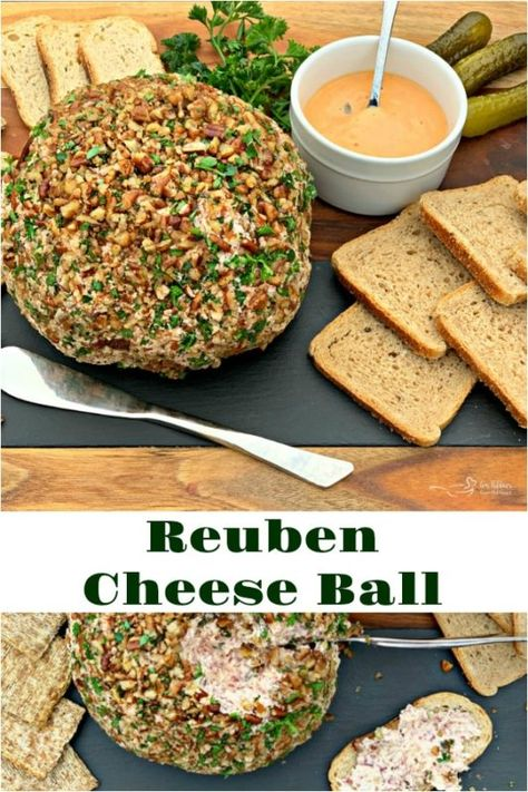 Reuben Cheese Ball - Everything you love about a classic Reuben sandwich in this Holiday appetizer. Corned Beef, Sauerkraut, Swiss with a pecan exterior. Cheese Appetizers, Appetizer Dips, Appetizer Recipes, Dinner Recipes, Reuben Sandwich, Alton Brown, Best Holiday Appetizers, Cheese Ball Recipes, Potato Recipes