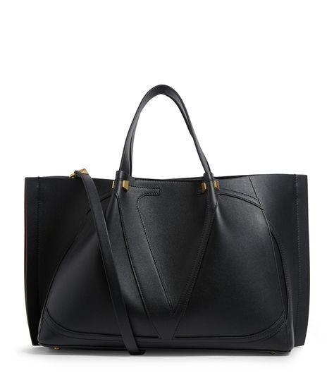 Valentino Garavani Leather Logo Tote Bag #AD , #AD, #Leather, #Garavani, #Valentino, #Bag, #Tote