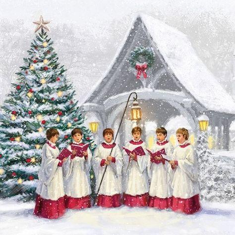 dog Christmas ~4 Single paper decoupage napkins forest boy  -X111 winter