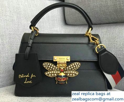 06fe092f963 Gucci Queen Margaret Metal Bee Small Top Handle Bag 476541 Leather Black  2018