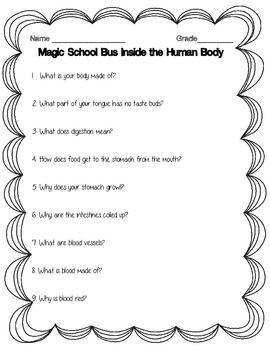 Magic School Bus Inside The Human Body Worksheet Science 3 L 1 1 Human Body Worksheets Human Body Magic School Bus