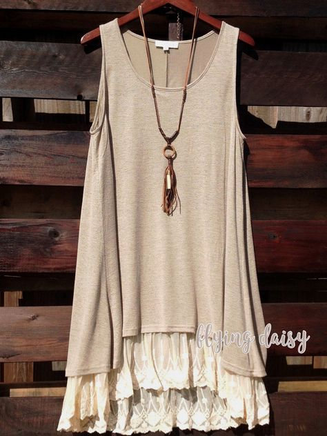 Lined Knit Tank Dress With Cream Lace Trim With High Low Hem