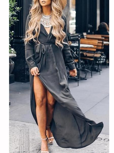 adfb10d7d2a7a V-neck lace-up long-sleeved dress in 2019 | Clothes-Tips | Maxi ...