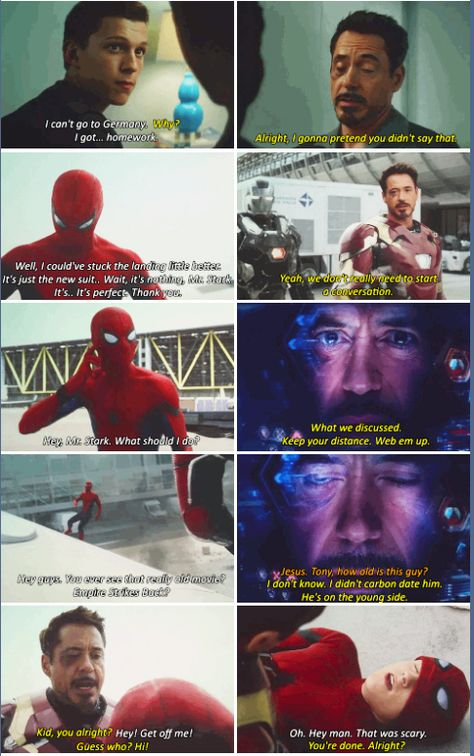 """""""He's now in the Marvel Cinematic Universe, and he can interact with the characters in that universe. I think that this mentor relationship that Tony has developed with Peter Parker is probably one of the most interesting things the universe has moving forward.""""<<I love the new spider-man!"""