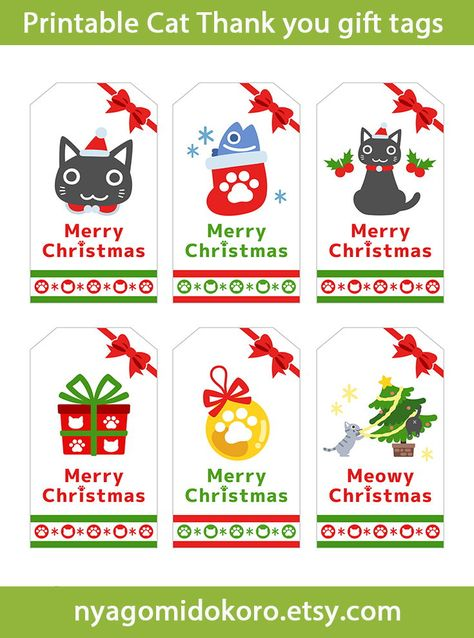 Printable Christmas Cat Gift Tags with Kawaii design.This Instant download digital file is set of 6 gift tags.Perfect for Christmas Wrapping for cat lovers!
