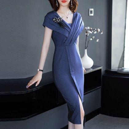 abclosetセクシーワンピースエレガントファッション無地vネックドレス ワンピース プチプラ ワンピース エレガント ワンピース
