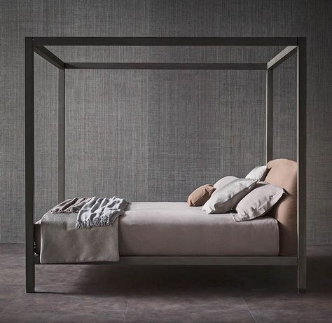 The canopy bed always inspires romance; however, the clean lines of bed Ari…