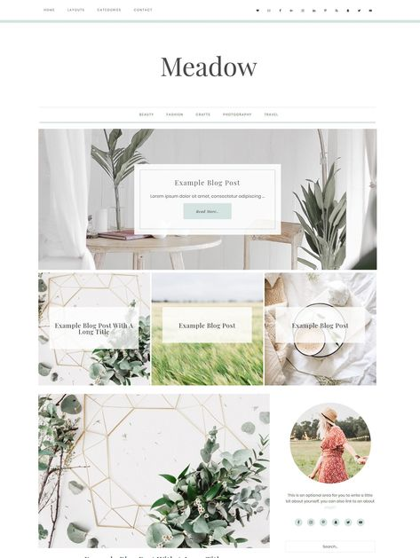 Wordpress Theme Responsive Meadow - Genesis Child Theme - Wordpress Template - Wordpress Blog - Blog Design - Ecommerce