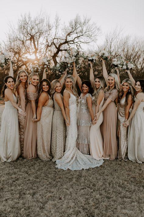 Oklahoma City wedding and engagement photographer. Beige Bridesmaids, Mix Match Bridesmaids, Different Bridesmaid Dresses, Champagne Bridesmaid Dresses, Bridesmaids And Groomsmen, Wedding Dresses, Winter Bridesmaids, Western Bridesmaid Dresses, Mismatched Bridesmaid Dresses