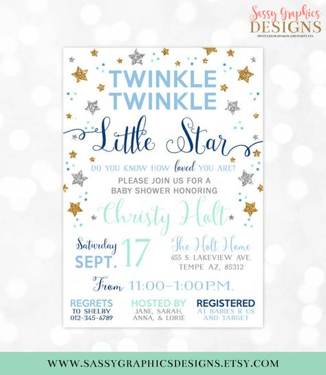 Twinkle Twinkle Little Star Baby Shower Invitation Baby Boy Gold