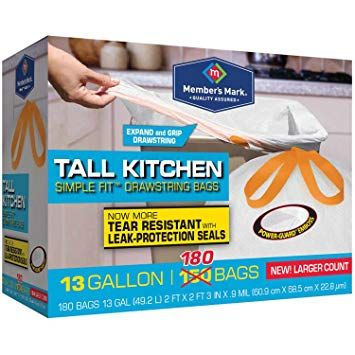 Member S Mark Tall Kitchen Simple Fit Drawstring With Fresh Clean Scent 13 Gallon Bags 180 Ct Review Members Mark Kitchen Bag Gallon Bag