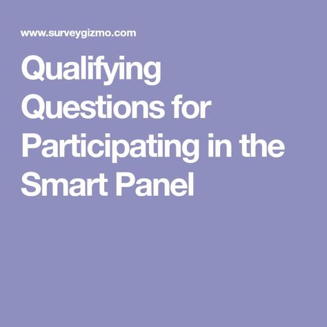 Qualifying Questions For Participating In The Smart Panel Smart Panel This Or That Questions Smart