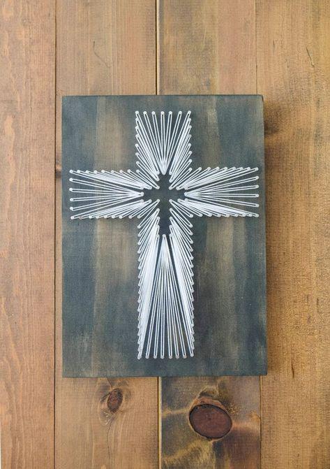 Cross String Art - Christian Wall Art - Rustic Home Decor - Religious Wall Art - Christian Gifts - B