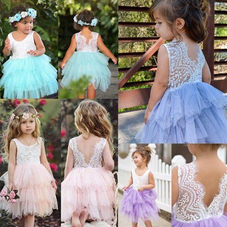 Kids Baby Flower Girls Dress Lace Party Gown Formal Wedding Bridesmaid Dresses