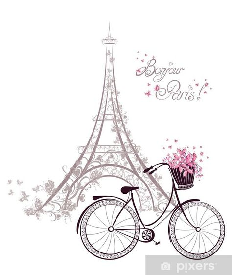 Bonjour Paris text with tower eiffel and bicycle. Romantic postcard from Paris. by via Shutterstock