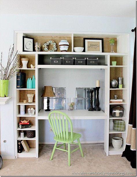 DIY bookshelf/desk made out of 3 Ikea bookshelves; love the inside back of the shelves too