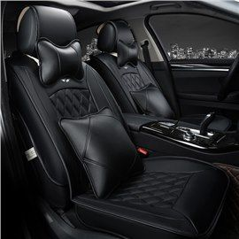 Business Style Diamond Pattern Design Universal Car Seat Covers Leather Car Seat Covers Sports Car Seat Cover Leather Car Seats