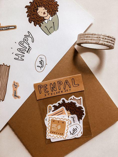Mail Art Envelopes, Cute Envelopes, Pen Pal Letters, Cute Letters, Sticker Shop, Sticker Design, Snail Mail Pen Pals, Snail Mail Gifts, Mini Stickers