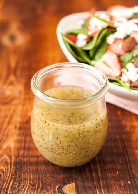 *****Honey Poppy Seed Salad Dressing: 3 Tablespoons lemon juice, 1/4 cup honey, 1 teaspoon dry mustard powder, 1 teaspoon fresh lemon juice, 2 Tablespoons poppy seeds, salt, 1/2 cup Canola oil. Can pour over fruit too. I added McCormick's Perfect Pinch Garlic and Herb when I don't put strawberries with it. Delicious!!! I poured it over spinach leaves.