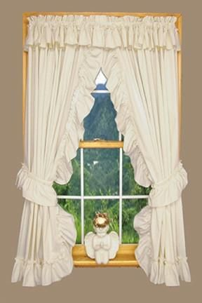 Heather Solid Color Ruffled Priscilla Window Curtains With