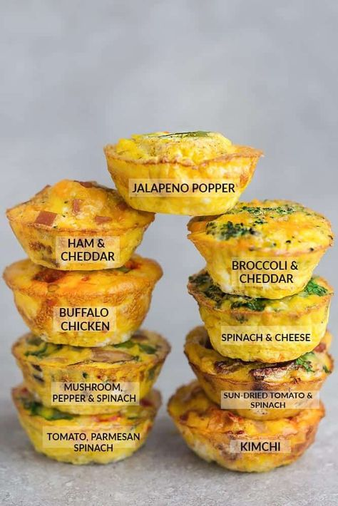 Keto Egg Cups – 9 Delicious & Easy Low Carb Breakfast Recipes 9 Low Carb Breakfast Egg Muffin Cups are packed with protein and perfect for busy mornings, weekend or holiday brunch. Best of all, so easy make-ahead breakfast for on the go. Breakfast Egg Muffins Cups, Eggs In Muffin Tin, Keto Egg Muffins, Breakfast Casserole, Muffin Tin Omelets, Spinach Egg Muffins, Sausage Egg Muffins, Cheese Muffins, Breakfast Potatoes