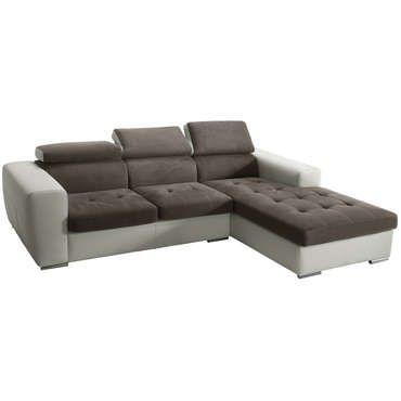 canapé d'angle droit 5 places marsala coloris taupe et blanc