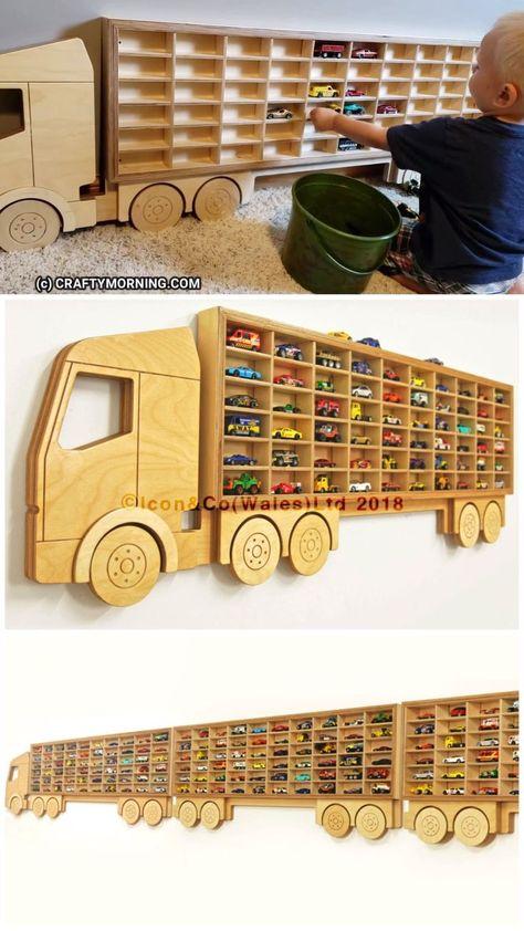 Hot Wheels Storage Shelf (Organization)- Kids toy organizing. Kids cars ways to organize them. Storage shelf that looks like a truck...boys love this! Etsy find affiliate link.