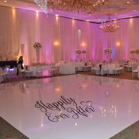 Fantastic Photographs HAPPILY EVER AFTER Removable Vinyl Wedding Dance Floor Decal Sticker Popular In the countless years, we have spent on the dance surfaces of this world, we have skilled some co Wedding After Party, Our Wedding, Dream Wedding, Dance Floor Wedding, Wedding Floor Plan, Wedding Rentals, Indoor Wedding Venues, Ibiza Wedding Venues, Wedding Trends