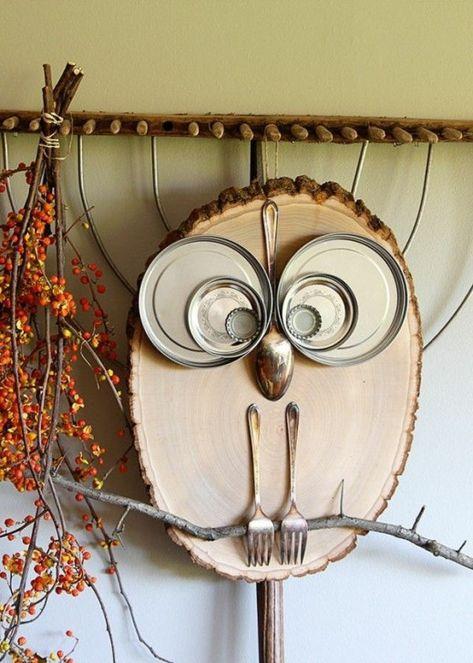 Eule Deko Mit Holzscheiben Selber Machen Wanddeko Ideen