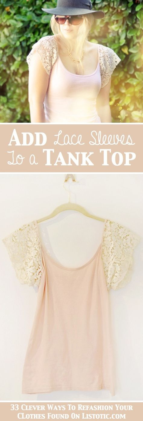 add lace sleeves to your average tank top or cammy. NEW SHIRT