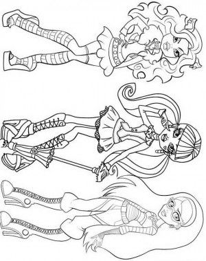 Draculaura, Clawdeen Wolf, Ghoulia Yelps Monster High Coloring Page