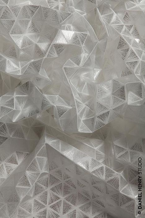 Geometric Textiles Design with tessellating triangle pattern & faceted structure; fabric manipulation // Daniel Henry