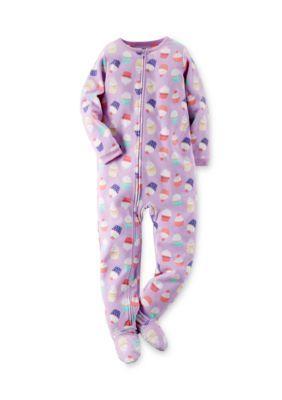 481a3fb9ddb5 Carters 1-Piece Cupcake Fleece Pajamas Girls 4-8