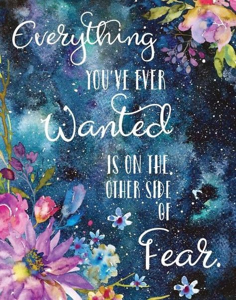 Motivational Print / Everything You've Ever Wanted Is on the Other Side of Fear Print / George Addai