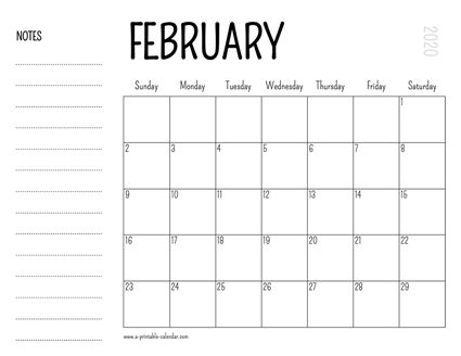 Download This February 2020 Printable Calendar With Space For