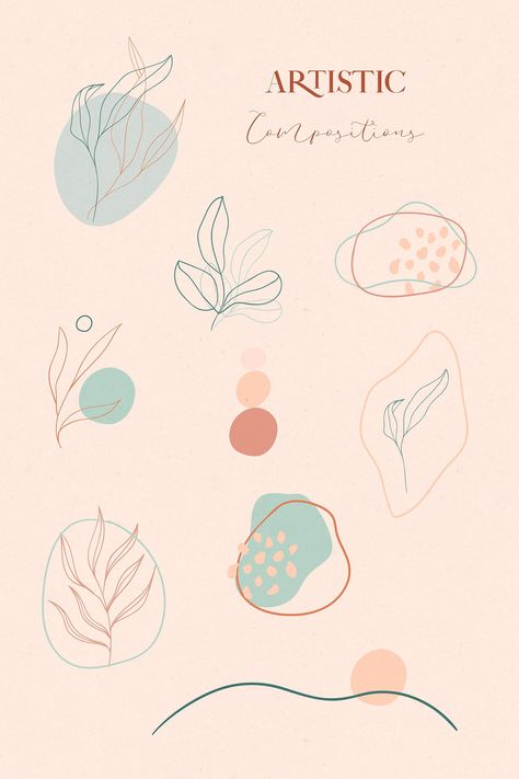 Terra Flora Abstract Collection of line drawing leaves illustrations, shapes,  lines, artistic combinations, logo & business card templates.