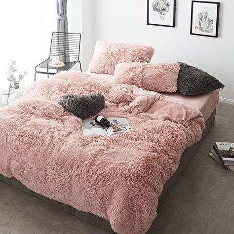 Fluffy Duvet Cover With Pillow Cover 3 Pieces Set - Bed Cover Faux Fur Bedding, Fluffy Bedding, Cute Bedding, Linen Bedding, Bed Linens, Sheets Bedding, Neutral Bedding, Floral Bedding, Boho Bedding