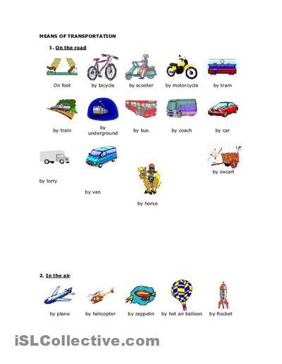 Means Of Transportation Transportation Worksheet Worksheets Means Of Transportation Printable transportation worksheets for