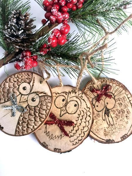 Birds Of Christmas Ornament Set Rustic Wood Ornament Wood Slice Ornament Personalized Christmas Ornament Sets Christmas Ornaments Wood Slice Ornament