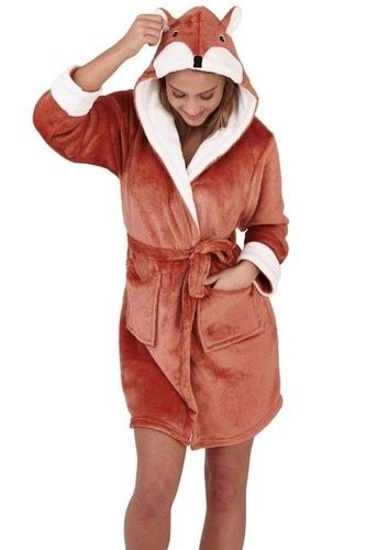 Ladies Soft Flannel Fleece Fox Novelty Hood Short Bath Robe//Dressing Gown