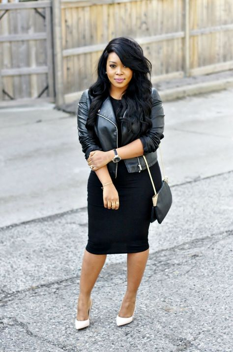 Black dress and leather jacket / all black outfit / street style