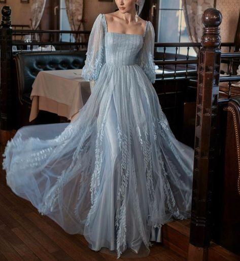 Elegant Dresses, Pretty Dresses, Beautiful Dresses, Ball Dresses, Prom Dresses, Formal Dresses, Designer Evening Gowns, Ball Gowns Evening, Blue Evening Dresses