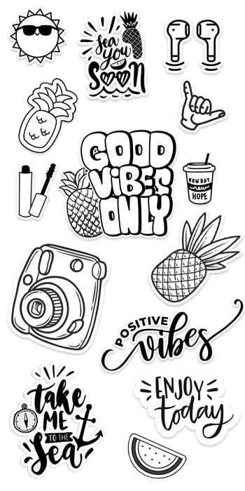 Vsco Stickers Black And White Diy Printable Stickers In 2021 Black And White Stickers Printable Stickers Printable Sticker Sheets
