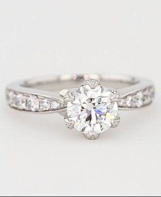 Monique Lhuillier Petal Pave Diamond Engagement Ring In Platinum