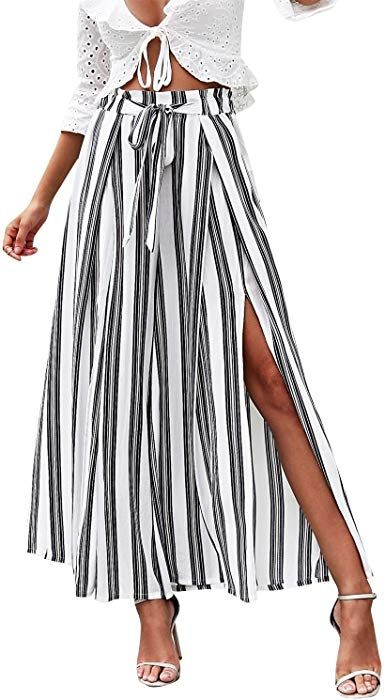 15a00790e4184 Simplee Women's Elegant Striped Split High Waisted Belted Flowy Wide ...
